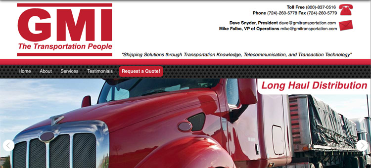 GMI Transportation website screenshot