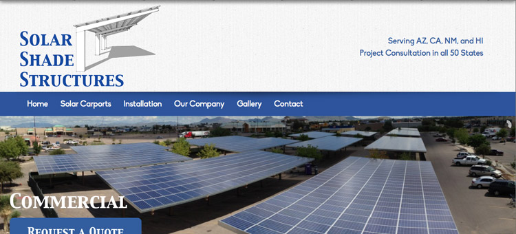 Solar Shade Structures website screenshot